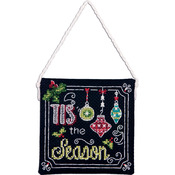 """4""""X4"""" 14 Count - Tis The Season Ornament Counted Cross Stitch Kit"""