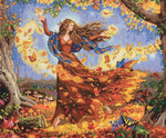 """14""""X12"""" 14 Count - Gold Collection Fall Fairy Counted Cross Stitch Kit"""