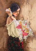 """11""""X15"""" 18 Count - Gold Collection Woman With Bouquet Counted Cross Stitch Kit"""