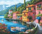 """15""""X12"""" 16 Count - Gold Collection Lakeside Village Counted Cross Stitch Kit"""