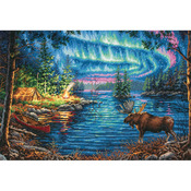 """16""""X11"""" 14 Count - Gold Collection Northern Night Counted Cross Stitch Kit"""