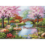 "16""X12"" 16 Count - Gold Collection Japanese Garden Counted Cross Stitch Kit"