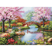 """16""""X12"""" 16 Count - Gold Collection Japanese Garden Counted Cross Stitch Kit"""