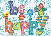"""7""""X5"""" - Be Happy Mini Stamped Cross Stitch Kit"""