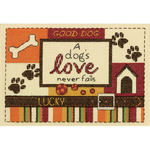 """5""""X7"""" 14 Count - A Dog's Love Mini Counted Cross Stitch Kit"""