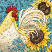 """6""""X6"""" 18 Count - Gold Petites Rooster Counted Cross Stitch Kit"""