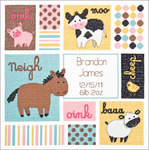 """12""""X12"""" 14 Count - Baby Hugs Barn Babies Birth Record Counted Cross Stitch Kit"""