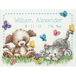 """12""""X9"""" 14 Count - Pet Friends Baby Birth Record Counted Cross Stitch Kit"""