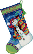 "16"" Long Stitched In Wool & Thread - Happy Snowman Stocking Needlepoint Kit"