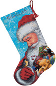"16"" Long Stitched In Floss - Santa And Toys Stocking Needlepoint Kit"