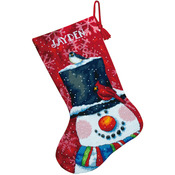 """16"""" Long Stitched In Wool & Floss - Snowman And Friends Stocking Needlepoint Kit"""