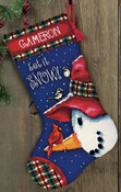 "16"" Long Stitched In Wool & Thread - Snowman Perch Stocking Needlepoint Kit"