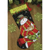 """16"""" Long Stitched In Floss - Snowman & Bear Stocking Needlepoint Kit"""
