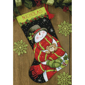 "16"" Long Stitched In Floss - Snowman & Bear Stocking Needlepoint Kit"