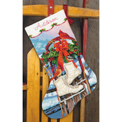 "16"" Long Stitched In Wool & Thread - Ice Skates Stocking Needlepoint Kit"