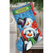 "16"" Long Stitched In Thread - Polar Pals Stocking Needlepoint Kit"
