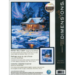 """11""""X14"""" Stitched In Thread - Winter Sky Cabin Needlepoint Kit"""