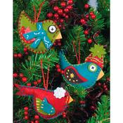 "2-3/4""X4-3/4"" Set Of 3 - Whimsical Birds Ornaments Felt Applique Kit"
