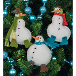 "3""X4"" Set Of 3 - Simple Snowmen Ornaments Felt Applique Kit"