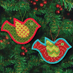 "5""X3.5"" 9 Count - Jolly Bird Ornaments Felt Counted Cross Stitch Kit"
