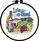 """Learn - A - Craft Life Is Good Counted Cross Stitch Kit-6"""" Round 14 Count"""