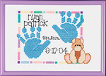 """Special Moments Baby Handprints Mini Counted Cross Stitch Ki-7""""X5"""" 14 Count Mage"""