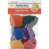 Bright & Bold -Rd/Gld/Grn/Roy/Pur/Orn - Paint Box Wools .33oz 6/Pkg