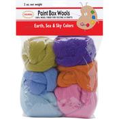 Earth, Sea & Sky -Orn/Olv/Pur/Pk/Bl/Seaf - Paint Box Wools .33oz 6/Pkg