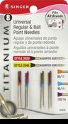 Titanium Universal Regular & Ball Point Machine Needles - Sizes 11/80 (2), 14/90