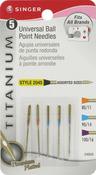 Titanium Universal Ball Point Machine Needles - Sizes 11/80 (2), 14/90 (2) & 16/