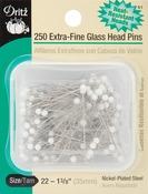 Size 22 250/Pkg - Extra-Fine Glass Head Pins