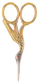 "Gold-Plated - Red Ruby Swarovski Crystal Stork Scissors 3.5"""