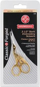 Gold-Plated Finish - Classic Forged Stork Embroidery Scissors 3.5""