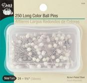 Size 24 250/Pkg - Long Color Ball Pins