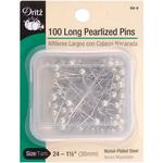 White Size 24 100/Pkg - Long Pearlized Pins
