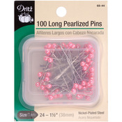 Pink Size 24 100/Pkg - Long Pearlized Pins