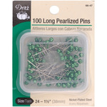 Green Size 24 100/Pkg - Long Pearlized Pins