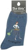 Knitting Girl - Denim - The Girls Socks