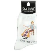 Quilting Girl - White - The Girls Socks