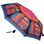 "Rainbow Cat Cousins - Laurel Burch Compact Umbrella 42"" Canopy Auto Open/Close"