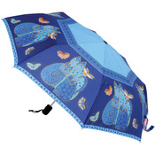 "Indigo Cats - Laurel Burch Compact Umbrella 42"" Canopy Auto Open/Close"