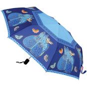 """Indigo Cats - Laurel Burch Compact Umbrella 42"""" Canopy Auto Open/Close"""