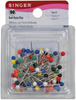 Size 17 90/Pkg - Ball Point Pins SINGER-Ball Head Pins are used for knits and lingerie fabrics. Instead of a sharp point which may pierce the fabric, the rounded end pushes the knit loops apart.  Package contains 90 multi-colored plastic heads, steel shaft makes it a good choice for magnetic pincushions.  Size 17, 1-1/16 inch long, extra fine, .5mm round shaft.  Imported.