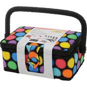 "7.25""X3.5""X5"" Bright Dots - Sewing Basket"