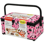 "11.5""X6""X6.5"" Pink Notions - Sewing Basket"