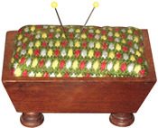 "Design Area 2""X3"" - Mahogany Vintage Pincushion 3.5""X5"""