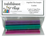 "Confetti - Raspberry, Mint & Sugar Plum - Angelina Film Sampler 4""X3' 3/Pkg"