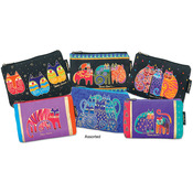 """Feline Prints - Cosmetic Bag Zipper Top Assortment 9""""X1""""X6"""""""