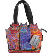 "Tres Gatos - Red, Orange & Blue - Medium Tote Zipper Top 12""X3.5""X8.5"""