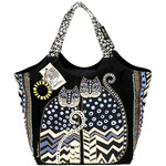 "Spotted Cats - Large Scoop Tote Zipper Top 19""X8.5""X12.5"""